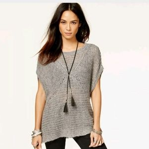 Free People M Tatiana Gray Pullover Sweater